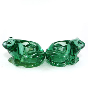 Green glass frog candle holders, set of 2