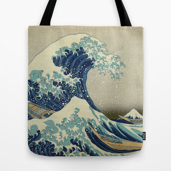 Great Wave Off Kanagawa. Japanese vintage landscape oil painting art. Tote Bag by ArtsCollection