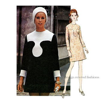 1970s VOGUE 2323 DRESS PATTERN Mod Mini Dress Pattern Pierre Cardin Vogue Paris Original Bust 32.5 Size 10 Womens Sewing Patterns