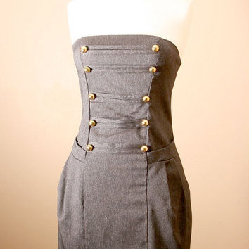 LAST ONE 40off // Strapless, Military, Denim, Corset, Dress w/ side pockets (small)