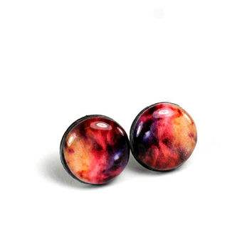 Red & Blue Galaxy earrings, Space earrings, Universe earrings, Stud earrings, Galaxy stud earrings, Nebula earrings, Studs,  Nebula jewelry