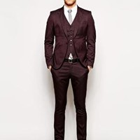 Selected Burgundy Skinny Suit at ASOS