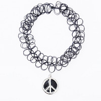 Urban Renewal Vintage Surplus Peace Charm Tattoo Necklace in Black - Urban Outfitters