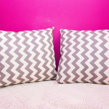 Grey Pillow Chevron.20x20 inch.Decorator Pillow Covers.Printed Fabric Front and Back.Housewares.Home Decor.Cushions.cm