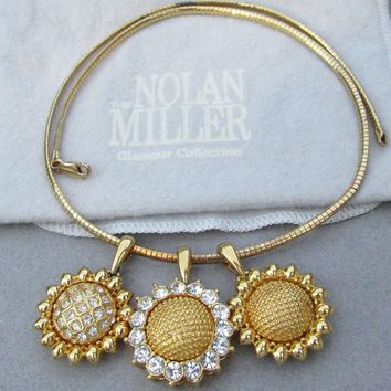 Nolan Miller Set of 3 Vintage SUNFLOWER Pendants on Gold Plated Sterling Silver Vermeil Chain Necklace