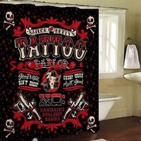 Tatoo shower curtain/Waterproof Anti-mildew Shower Curtain with Hooks Sailor Betty Tattoo Pattern/Waterproof Creative Black and Red Color Bathroom Fabric Shower Curtain with Plastic Hooks Funny Sailor Bettys Tattoo Parlor Pattern (Size: 180cm by 180cm, Col