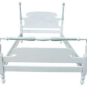 SALE! Org 650.00 Beautiful Solid Mahogany Wood Freshly Painted in White & See Breeze Colors Full Size Cottage Bed.