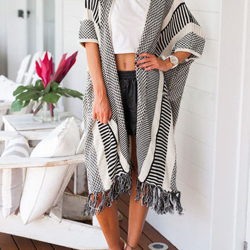 Black Striped Tassel Cardigan