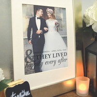 Happily Ever After, Wedding Photo Art, Newlywed Gifts, Custom Photo Art, Paper Anniversary / ArtPaper Print or Canvas / W-Q21-1PS QQ5 06S