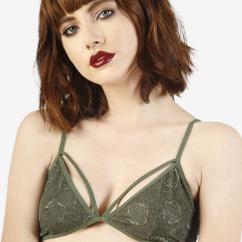Lace Layered Bra - Olive