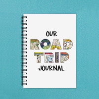 "Our Road Trip Journal - 5"" x 7"" Travel journal, journal, road trip journal, notebook, diary, scrapbook, adventure, travel, road trip, book"