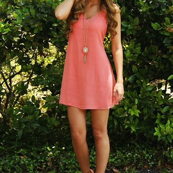 Pick Up The Pieces Dress: Coral