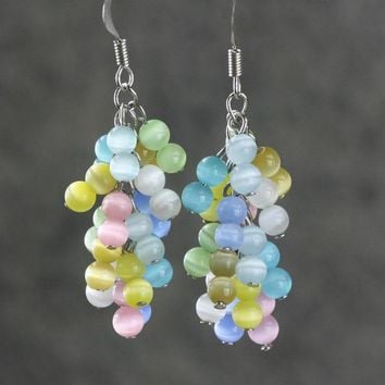 Rainbow color chandelier earrings bridesmaid Free US Shipping handmade Anni Designs
