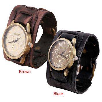 Unisex New Style Retro Punk Rock Brown Big Wide Leather Bracelet Cuff Men Watch Cool Unique Popular High Qulity Hot Selling M1