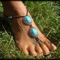 OOAK Barefoot Sandal Anklet with Turquoise pendants and beads, ruby beads and Spiral Calabash Charms hippie  boho gypsy festival wedding