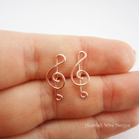 Treble Clef Earring Studs, Rose Gold
