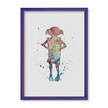 Harry Potter Dobby Poster Watercolor Art Print Wall Art Home Decor Movie Poster