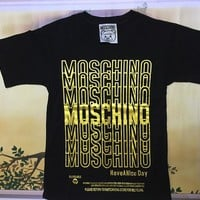 "Moschino Black ""Gold Logo"" Fashion Women T Shirt"