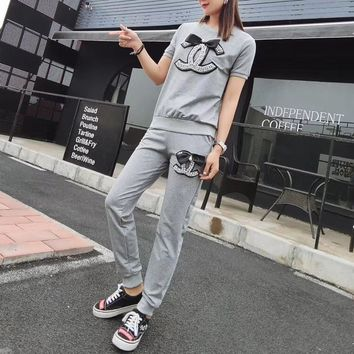 """Chanel"" Women Casual Fashion Bow Pearl Letter Short Sleeve Trousers Set Two-Piece Sportswear"