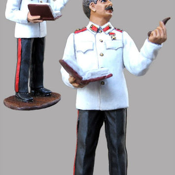 Miniature Figurines Joseph Stalin Soviet Leader with Book 54mm Hand Painted 1/32 Scale Pewter Sculpture Metal Miniature Statuette Antique