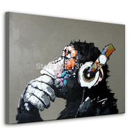 Boy or Girl Money Cartoon Oil Painting on Canvas Abstract Animal Wall Art for Home Decoration 1pc Happy 4cm strecth no frame