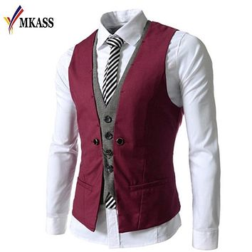 New Brand Men Suit Vests Fashion Casual Wedding Formal Business Suits Gilet Homme Blazer Costume Vest Mens Waistcoats