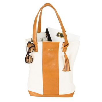 Personalized Brown Faux Leather Weekender Tote
