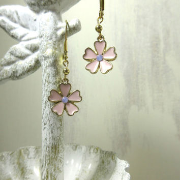 Pink Flower Earrings, Pink and Gold Flower Earrings, Girl Earrings, Frosted Pink Earrings, Birthday Gift