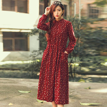 Autumn Dress Floral Print Velour Pleated High Waist Vintage Dress Oversize Long Sleeve Loose Casual Dress Vestidos