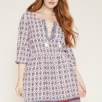 Plus Size Ornate Print Dress