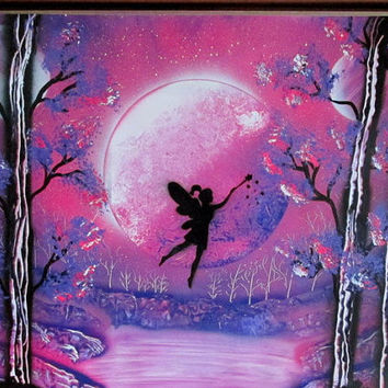 fairy painting,fairy spray paint art,fairy wall art,fairy pictures,fairy decor,spray painting,kids room decor,24*30,girls room,nursery decor