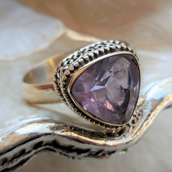 Alexandrite (Lab) Sterling Silver Ring - Size 8.75
