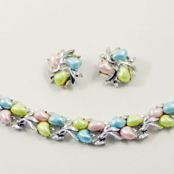 Vintage BSK Pastel Thermoset Bracelet and Clip Earrings