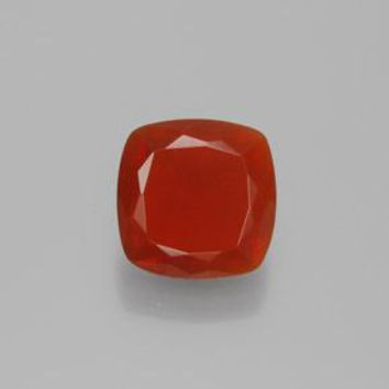 0.97 ct  Cushion-Cut Reddish Orange Fire Opal 7.4 x 7.4 mm