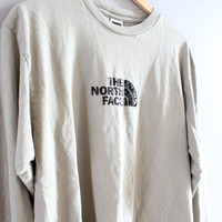 North Face T-shirt North Face Pullover Pale Green Slouchy Loose Fit Long Sleeves Tshirt Vintage North Face Minimalist 90s Size L