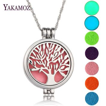 Tree Of Life Aromatherapy Diffuser Locket Pendant Necklace (FREE 5 felt pads + 2 Luminous pads)
