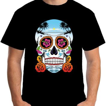 Mens Sugar Skull T Shirt High Quality Casual Clothing