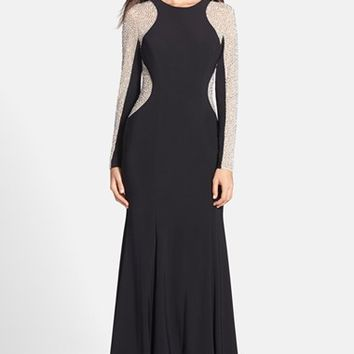 Women's Xscape Beaded Illusion Sleeve Jersey Mermaid Gown