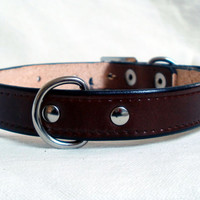 "Leather dog collar, 1/2"" wide, with rear D ring, small dog collar, black dog collar, brown dog collar, red dog collar, handmade"