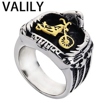Valily Jewelry Men Ring Gold Eagle Embracing Motorcycle Biker Rings Stainless steel punk rock chopper Ring best friend gift
