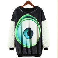 ERLKING Women's Long Sleeve Eyeball Fleece Tee Top Furry Sweatshirts Color Black Size Free Size