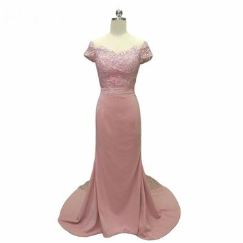 Mermaid Blush Pink Bridesmaid Dresses Off the shoulder Lace Wedding  Dresses Bridesmaid Gowns Lace Train