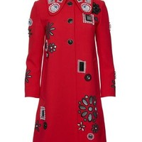Embroidered Coat with Pavé Buttons
