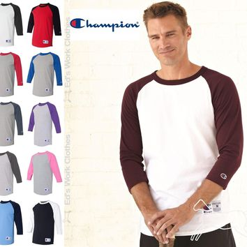 Champion Mens 3/4 Sleeve Raglan Baseball Cotton T Shirt Blank T137 Up to 3XL