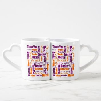 Purple and Orange Thank You Word Cloud Coffee Mug Set