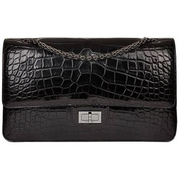 2011 Chanel Black Alligator Leather 2.55 Reissue 227 Double Flap Bag