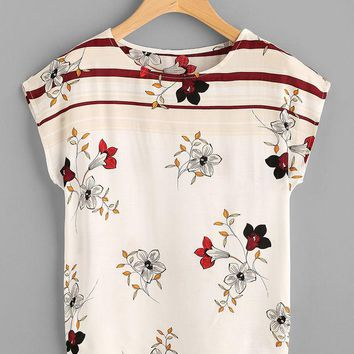 ONETOW Fashion Casual Multicolor Flower Print Short Sleeve Bat Shirt T-shirt Tops