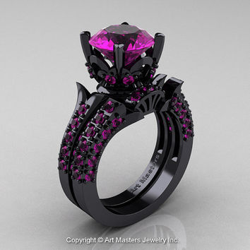 Classic French 14K Black Gold 3.0 Ct Amethyst Solitaire Wedding Ring Wedding Band Set R401S-14KBGAM
