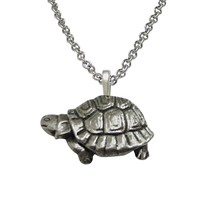 Textured Turtle Tortoise Pendant Necklace