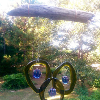 Illume Studio Handmade Recycled Wine Bottle Wind Chime with Texas Driftwood and Glass Jewelss